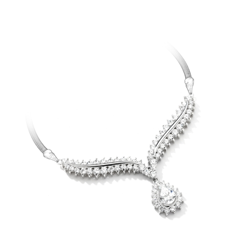4.5 ct. White Essence stones necklace in 14K Solid  White Gold