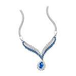 Magnificent 16 inch Solid White Gold necklace 4.5 carats t.w., with 1.5 ct. Pear center and diamond bright accents.