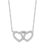 "Heart In Heart with 16"" long attached chain, 0.50 ct. t.w. of Diamond Essence Round Brilliant Stones in 14K Solid White Gold."