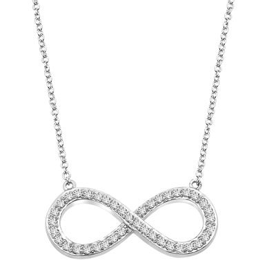 Prong Set Infinity Necklace with Artificial Round Brilliant Melee Diamonds by Diamond Essence set in 14K Solid White Gold