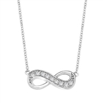 "Infinity Necklace with 0.45 ct.t.w. Round Brilliant Diamond Essence stones on 16"" long, 14K Solid White Gold chain."