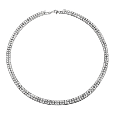 "16"" long Designer Necklace with two rows of Round Diamond Essence, set delicately in four prong setting, 38.0 Cts. T.W. Set in 14K Solid White Gold."
