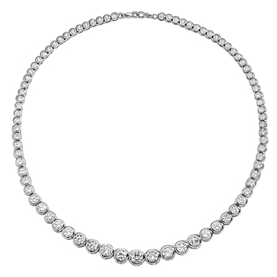 "16"" long Diamond Essence Designer Necklace with Bezel set, graduating Round Brilliant Diamond Essence, appx 26.0 cts.T.W. set in 14K Solid White Gold."
