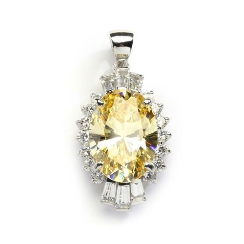Diamond Essence Pendant in 14K Solid White Gold with 10 cts. Oval Canary in center. Round Essence and Baguettes on either side, set in prong settings, makes it a designer wear. 13.0 cts.t.w.