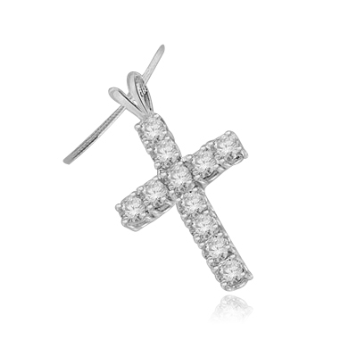 round stones white gold cross pendant
