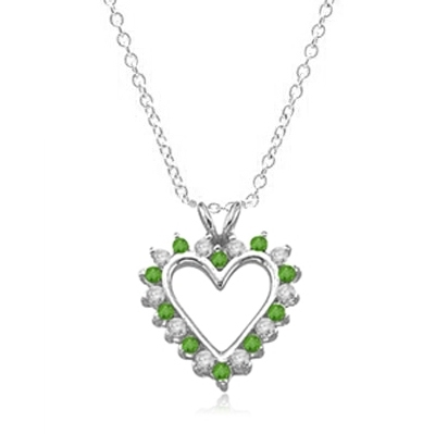 Emerald Essence Heart Pendant - 0.5 Cts. T.W. set in 14K Solid White Gold.