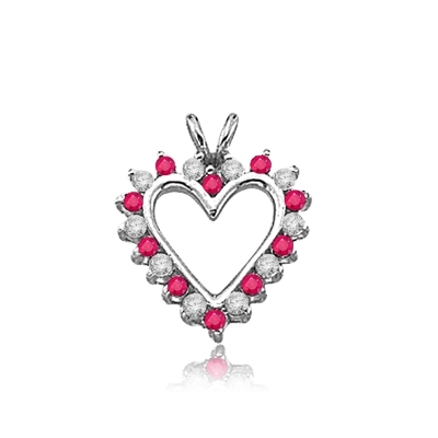Ruby Essence Heart Pendant - 0.5 Cts. T.W. set in 14K Solid White Gold.