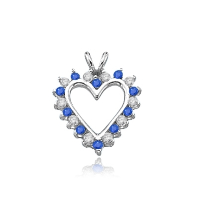 Sapphire Essence Heart Pendant - 0.5 Cts. T.W. set in 14K Solid White Gold.