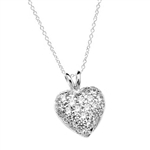 Heart Pendant with 1.30 Cts.T.W.  Pave - Set Round Brilliant Melee, to guide him directly to you. 1/2 inch long in 14K Solid White Gold.