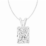 2ct radiant Emerald pendant in Solid white Gold
