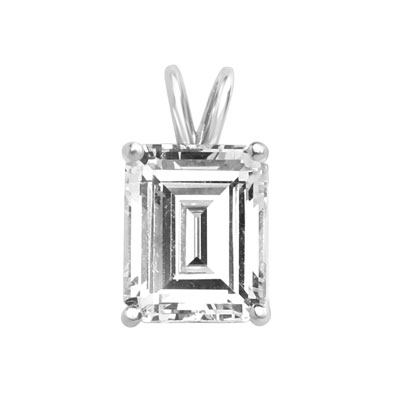 Diamond Essence Emerald cut stone, 1.0 carat, set in 14k Solid White Gold. Chain not included.
