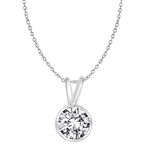 1ct round stone white gold  pendant