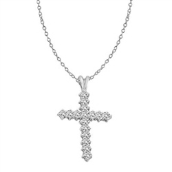 14K White Gold Cross Pendant with Round Brilliant Diamond Essence Stones,1.25 Cts.T.W.