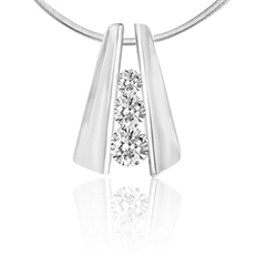 round stones stack in 2 14K Solid White Gold bars pendant