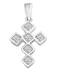 Whitegold bezel setting,princess cut cross pendant