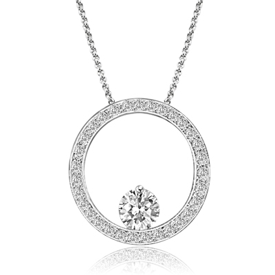 14K Solid White Gold circular Pendant. 0.50 Ct. Round Brilliant Diamond Essence balanced appealingly at the bottom of a circle made of Melee, 1.20 Cts.T.W.