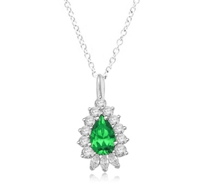 pendant with 4ct pearl emerald center in white gold