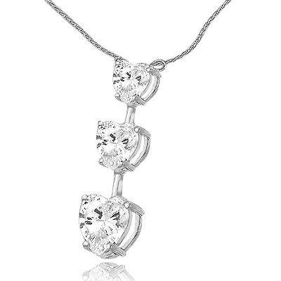 "Diamond Essence Heart cut stones, in graduating size, 1-1/2"" long pendant. 3.5 cts.t.w. in 14K Solid White Gold. (Silver Chain included)."