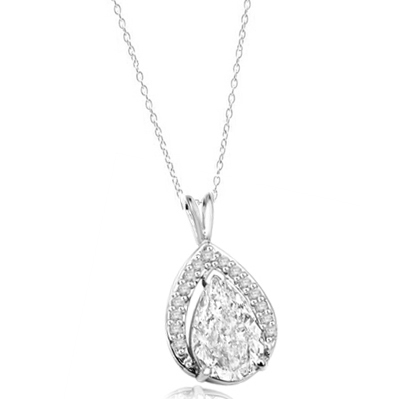 Amazingly designed Pendant with 3.50 Cts. Pear Cut Center and Melee, 4.0 Cts. T.W. in 14K Solid White Gold.