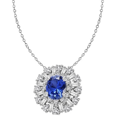 Diamond Essence Designer Pendant in 14K Solid White Gold with 2.5 carat Oval Sapphire Essence in the center, surrounded by Diamond Essence round stones and baguettes. Appx. 4.5 cts.t.w. Just perfect for all occasions.