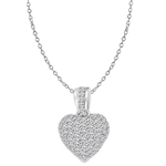 Craftman's delight Heart Pendant with micro pave set Diamond Essence accents shining your love like never before. There are tiny accents on the bale to highlight the overall glory effect. 2.5 Cts. T.W. set in 14K Solid White Gold.