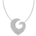 Artistic and Elegant Heart Pendant with Micro Pave Set Diamond Essence accents accentuating your love to the highest! Appx. 2.0 Cts. T.W. set in 14K Solid White Gold.