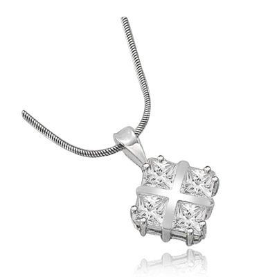 4 Princess Cut Masterpieces pendant  in White Gold