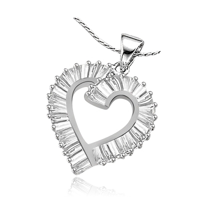 light-catching open-heart pendant in white gold