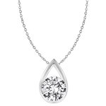 White gold pendant with rain drop shape