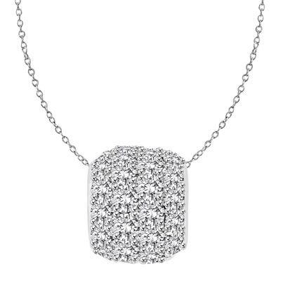 Diamond Essence Slide Pendant with Round stone all around 3.0 Cts. T.W. set in 14K Solid White Gold.