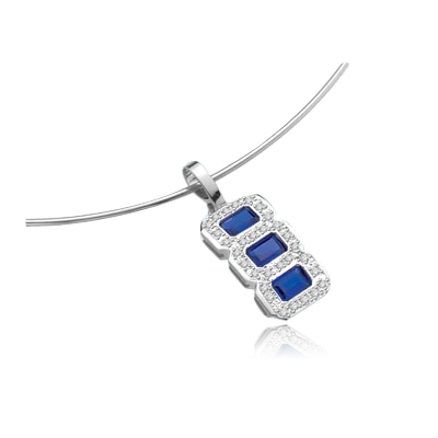 Dynamite triple treat triplet pendant with three matching Sapphire Essence stones—more true in color than most mined sapphires, each in its own frame of sparkling round Diamond Essence pieces 2.1 cts. t.w.in 14K Solid  White Gold. (Chain not included).