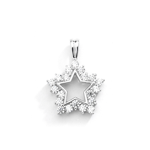 Gold star pendant-20 round melee in prong setting