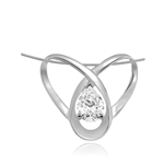 2ct pear cut stone set in orbit in white gold pendant