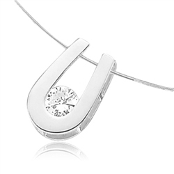 Round brilliant stone pendant in 14K Solid White Gold horseshoe