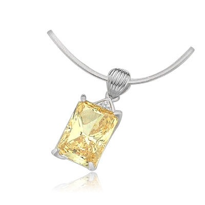 18ct canary stone pendant in 14k solid white gold