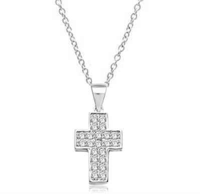 Santa Cruz-Cross pendant in Solid White Gold