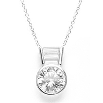 Diamond Essence Slide Pendant with 3.0 ct Round stone and Baguettes, 3.5 ct.tw. in 14K Solid White Gold.