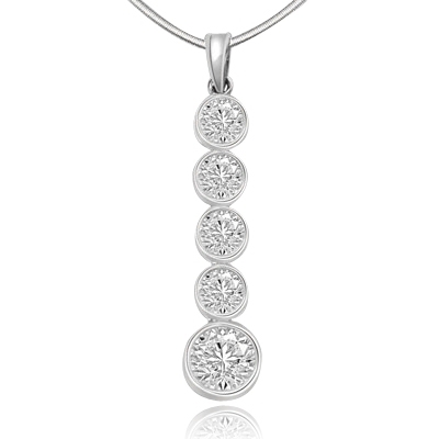 14k solid white gold pendant with 1.75 ct round stone