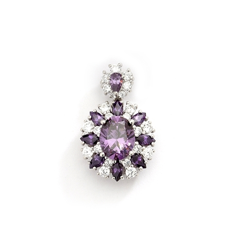 14K White Gold pendant with Amethyst stones