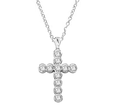 "Show your spirit with a heavy, solid cross pendant made with Round Diamond Essence stones 1.5 Cts. each Delightfully Dazzling 2-1/4""H and 1-3/4""W. In 14k Solid White Gold. Chain Not Included."