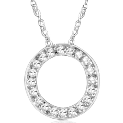 "An endless journey. 14K White Gold, circular pendant showing off Round Brilliant Diamond Essence stones, 2.5 cts.t.w. on 18"" length chain. Free Silver Chain Included."
