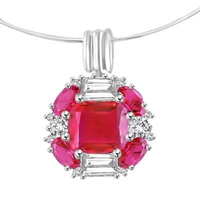 pink ruby white gold pendant