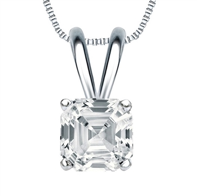 Asscher  Cut Diamond pendant White Gold