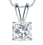 Cushion Cut Diamond pendant White Gold