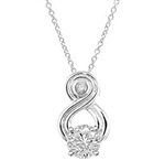 Intriguing and exotic pendant with 2 carat Diamond Essence round brilliant masterpiece in 14K Solid White Gold.