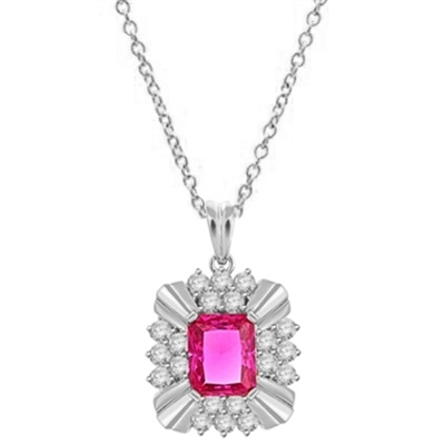 4ct Ruby Emerald cut stone of brilliant pendant in white gold