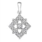 Diamond Essence Designer Pendant with Round Stones.1.25 Cts. T.W. set in 14K Solid White Gold.