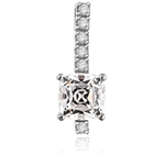 Elegant Pendant with 3.0 Cts. Cushion cut Diamond Essence in four prong setting, with Round Brilliant Stones set on a bar. 4.0 Cts.T.W. in 14K Solid White Gold.