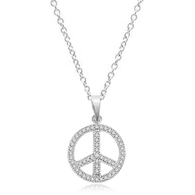 Peace Sign Pendant. Chanel set Round Brilliant Diamond Essence stones sparkling bright and spreading peace everywhere. set in 14K Solid White Gold.