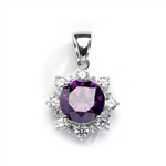 Designer Pendant with Round Amethyst Essence in center surrounded by Round Brilliant Diamond Essence and Melee. 4.5 Cts. T.W. set in 14K Solid White Gold.